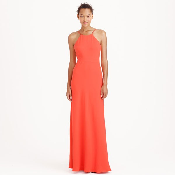 halter neck bridesmaid sheath in persimmon by J.Crew