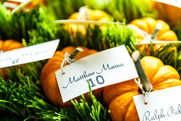 ivory escort cards tied to mini pumpkins for fall wedding