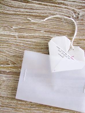 origami heart wedding invitation