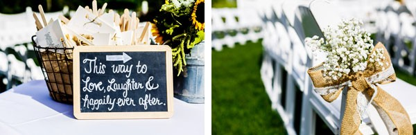 chalkboard welcome sign and baby's breath aisle decor