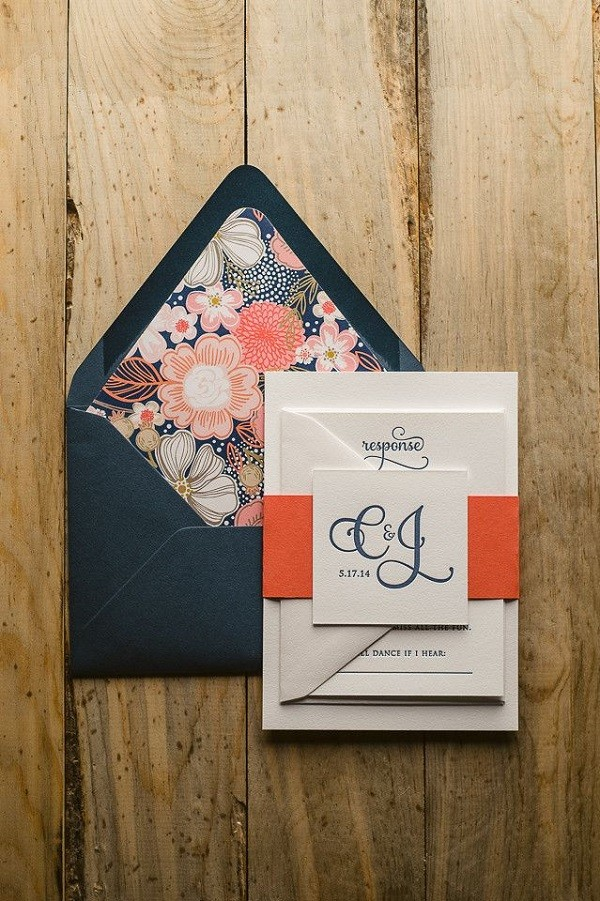 Navy blue and peach wedding invitations