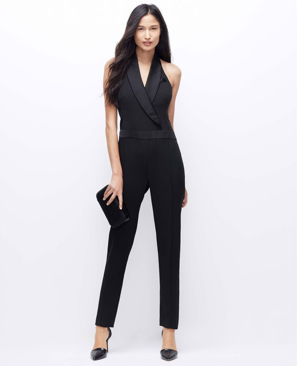 bridesmaid tuxedo jumpsuit in black by Ann Taylor