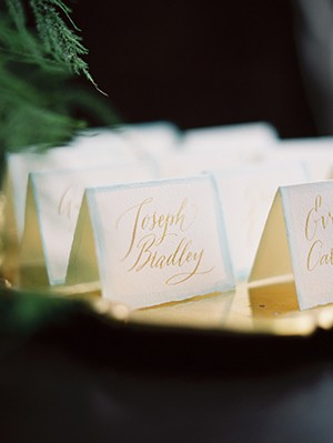 calligraphy place cards from mywedding magazine photo by Kate Ignatowski