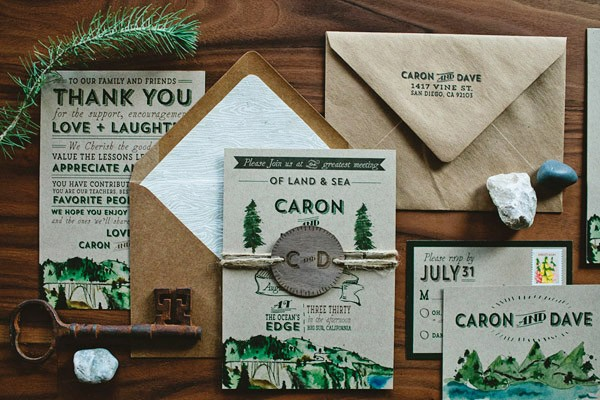 Mountain themed wedding invitations with neutral colors