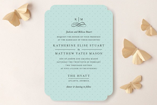 aqua wedding invitation with tiny polka dots and scalloped edges