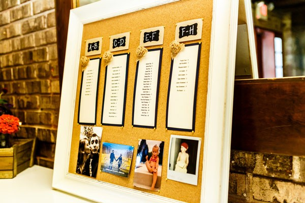 corkboard seating chart with family photos