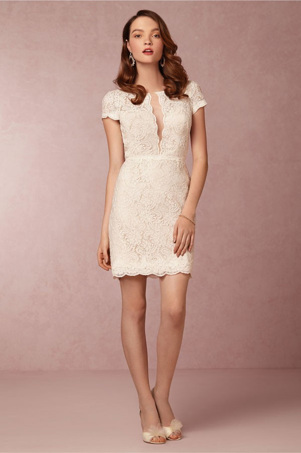 lace bridesmaid dress with cap sleeves and deep open collar front