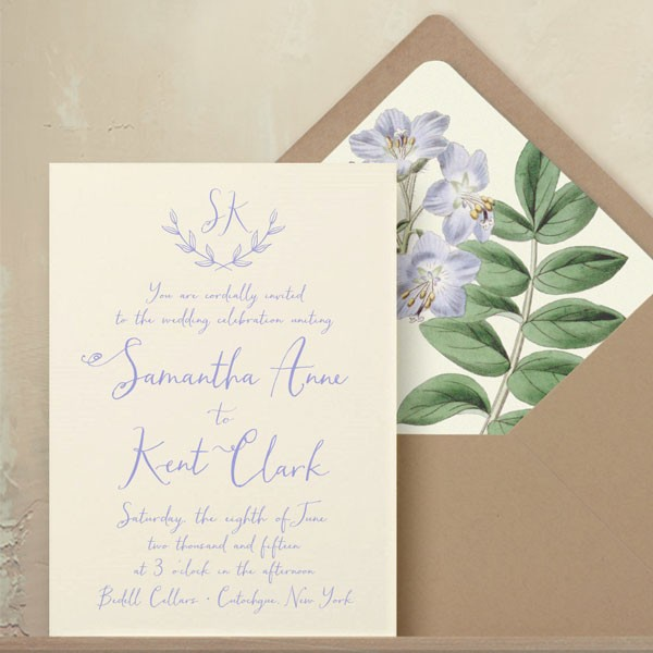 lavender vine wedding invitation with floral lined envelope