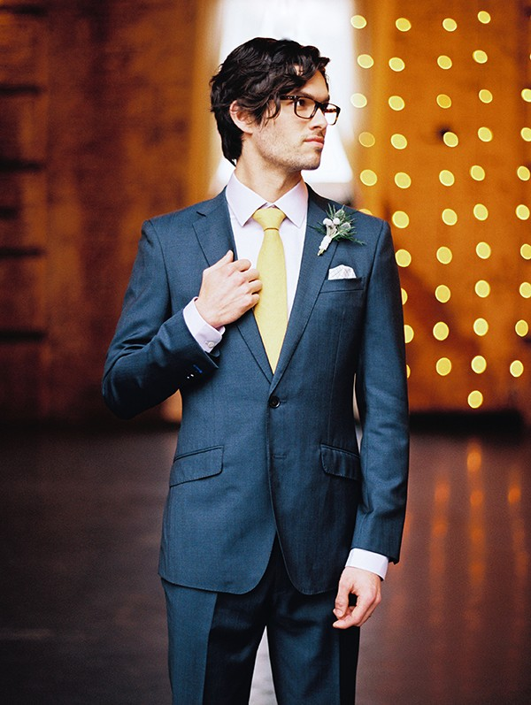 Classic groom look and grey suit from mywedding magazine photo by Kate Ignatowski