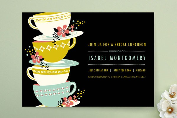 bold bridal shower invitation featuring brightly colored mid century modern tea cups