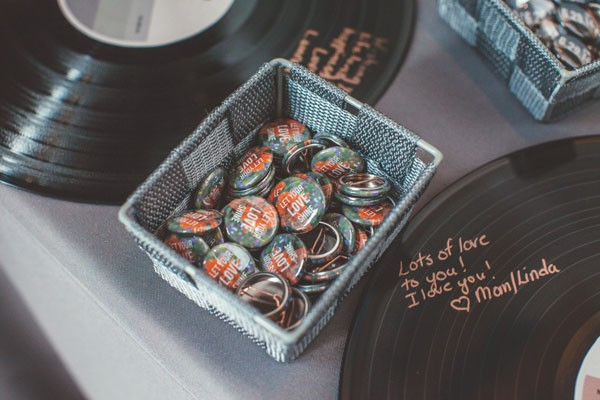 pins for guests and vinyl record guest book