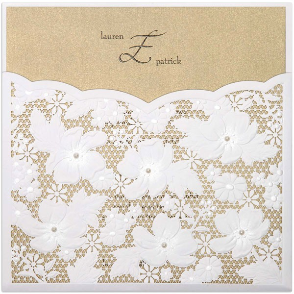 square wedding invitation with lace sleeves