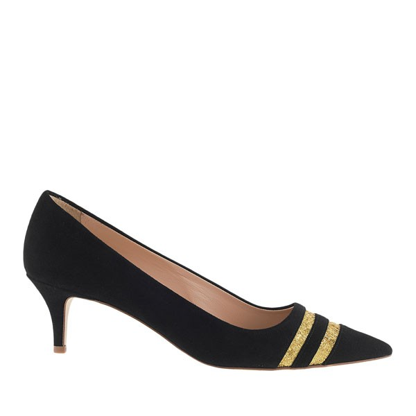 black kitten heels with thin gold stripes