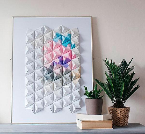DIY origami wall art for bridesmaid gift