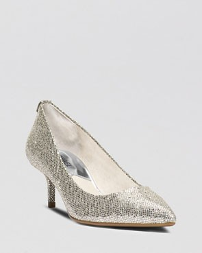 metallic silver kitten heels by Michael Kors