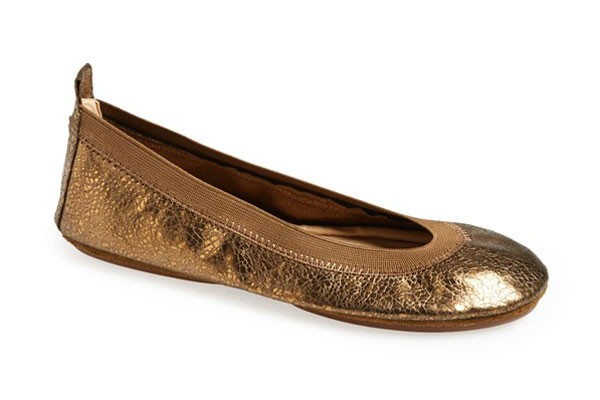 simple bronze metallic flats