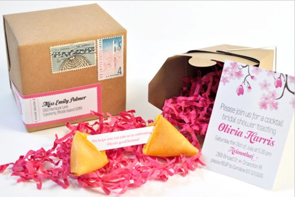 bridal shower invitation with fortune cookie message