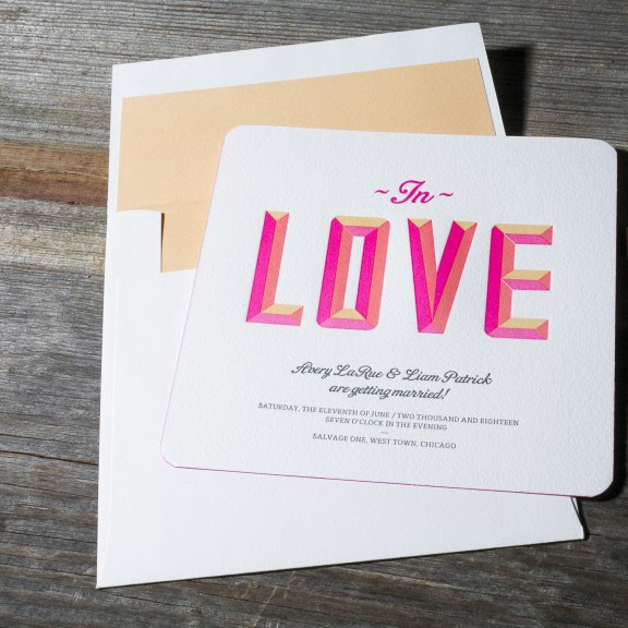 modern love wedding invitation in bright pink