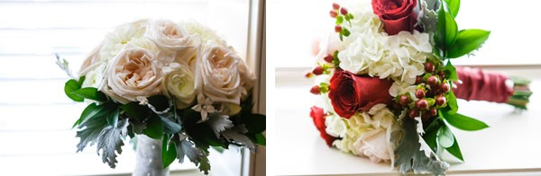 bridal bouquet with pale roses and bridesmaid bouquet with red roses