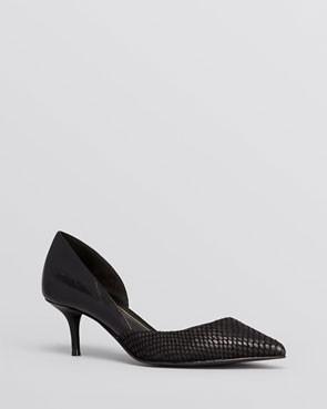 modern black d'orsay kitten heels