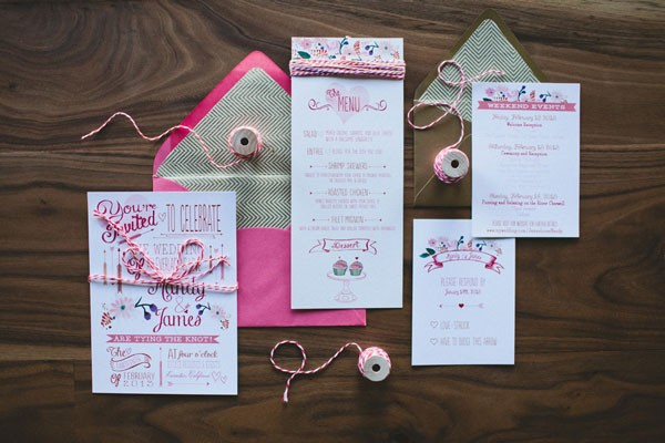 bright pink wedding invitation with heart theme