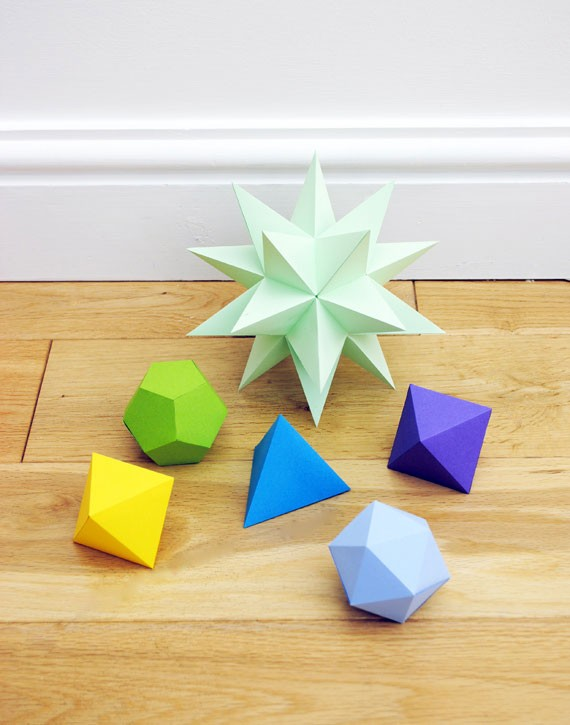 geometric folded paper details in DIY craft project