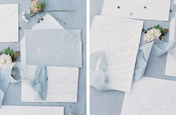 soft invitation suite with blue and white