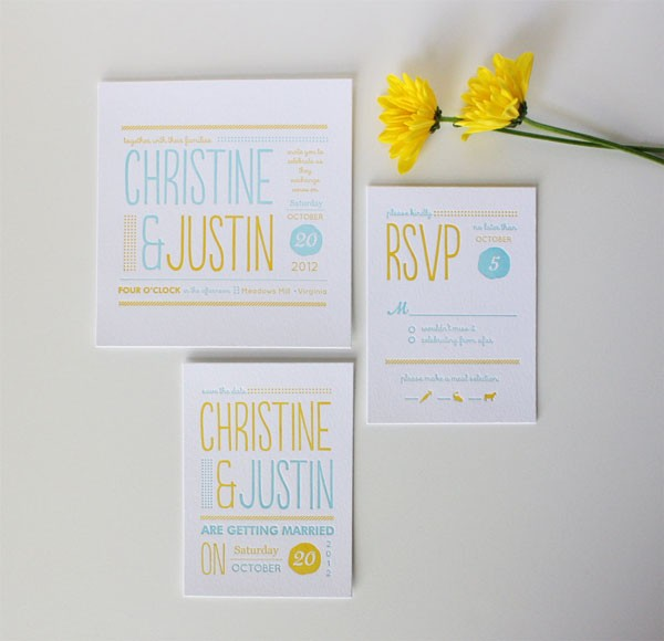 modern yellow and aqua letterpress wedding invitation