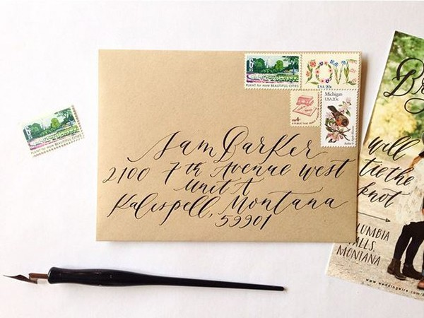 Kraft paper envelope and calligraphy address