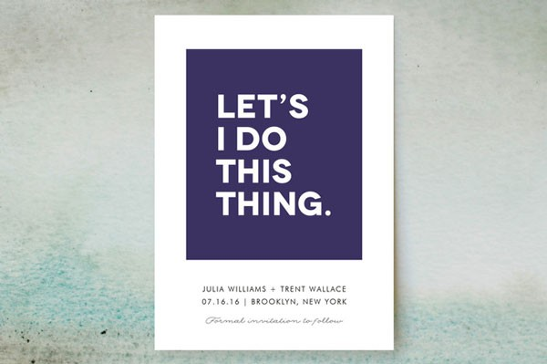 witty save the date card in bold purple and white