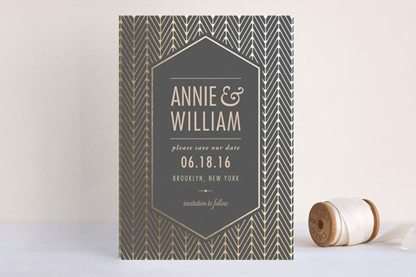 black and gold Art Deco save the date