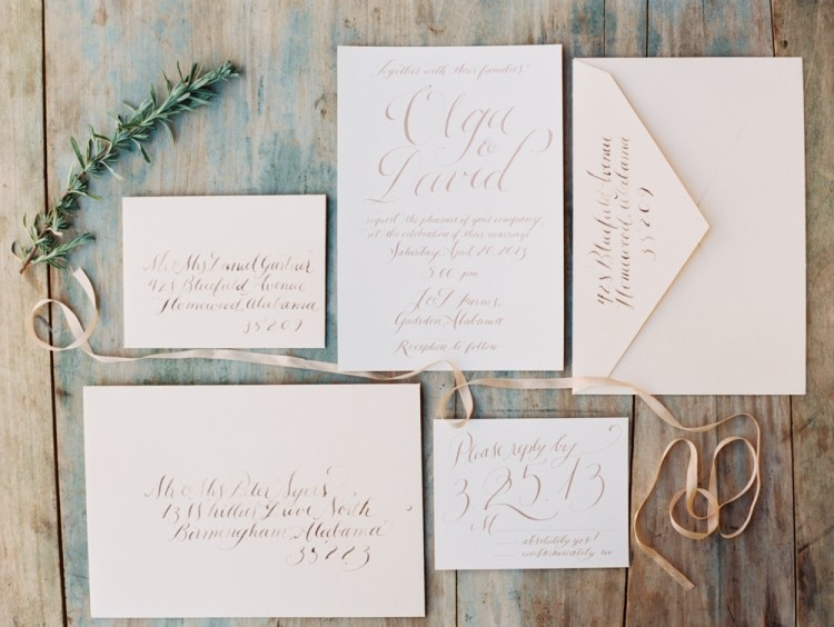 simple wedding invitaions in elegant calligraphy