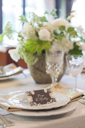 vintage inspired floral place card at reception