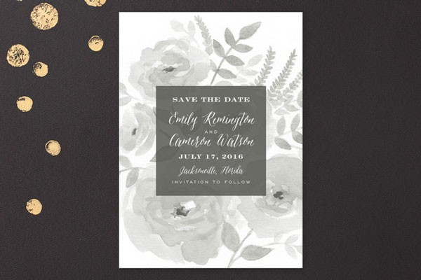 dark floral wedding invitation