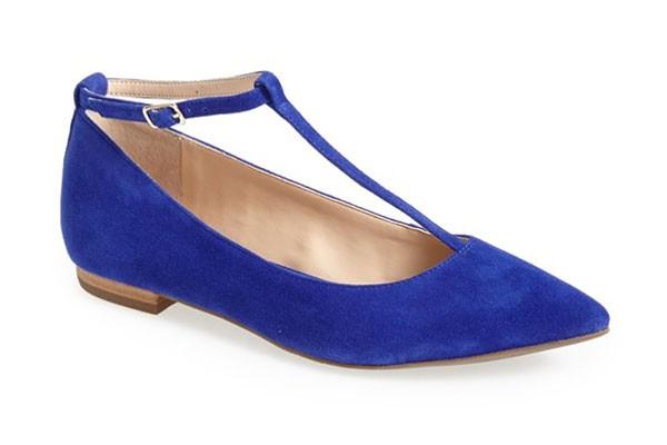 cobalt blue t-strap suede flats