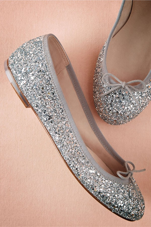 silver sparkly ballet flats with small bow