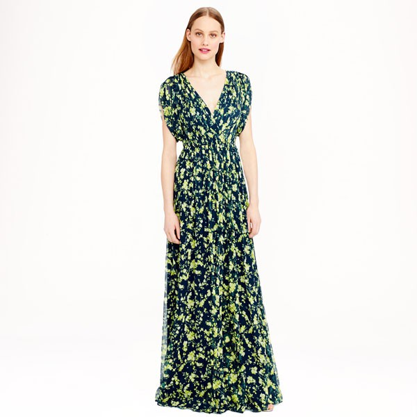 green and navy floral patterned maxi dress