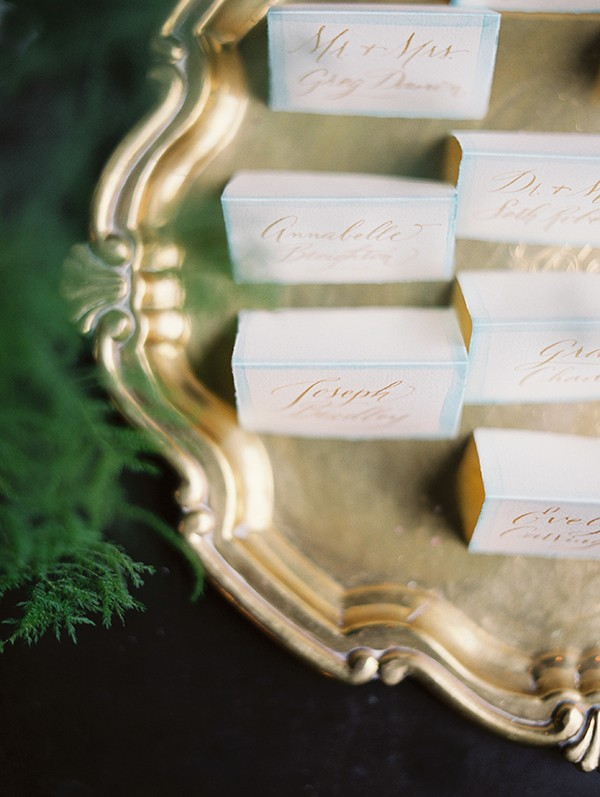 calligraphy escort cards from mywedding magazine photo by Kate Ignatowski
