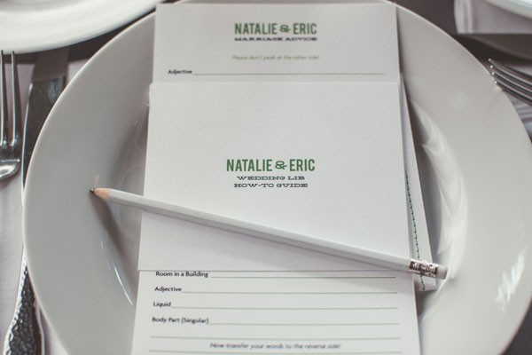 wedding mad libs at each place setting with white pencil