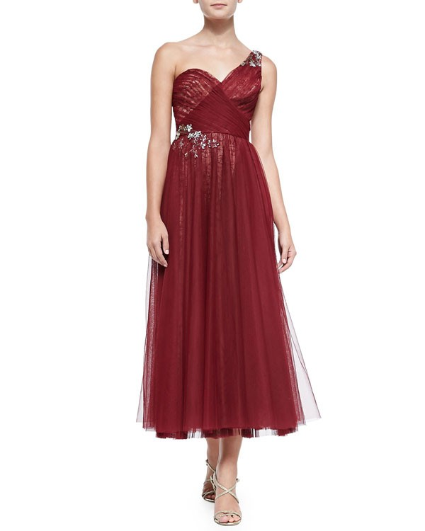 embroidered tulle bridesmaid dress in wine