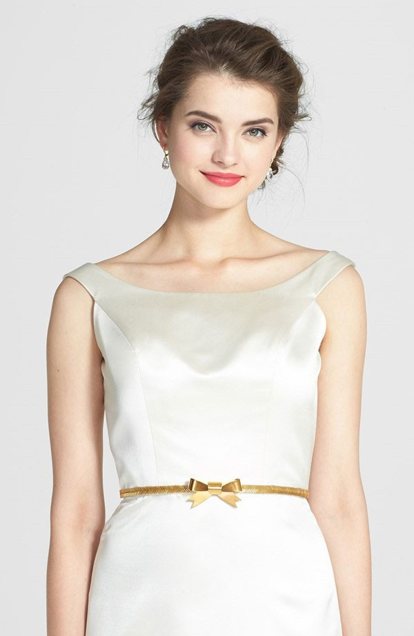 gold wedding dress belt with petite, preppy bow