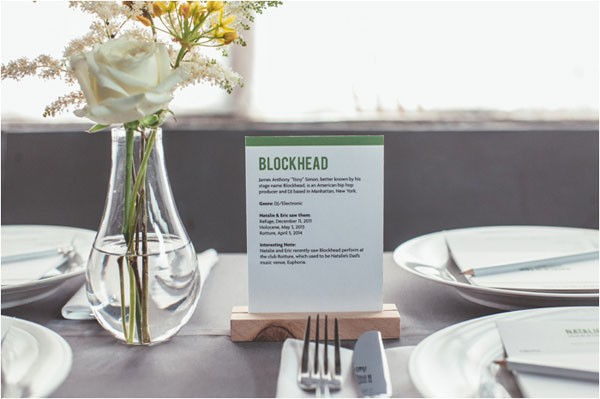 band-themed table numbers with gray table linens