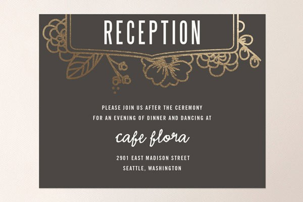 black and gold reception card to enclose in wedding invitation