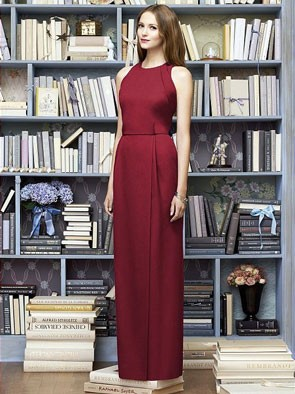 floor length modern bridesmaid dress in claret