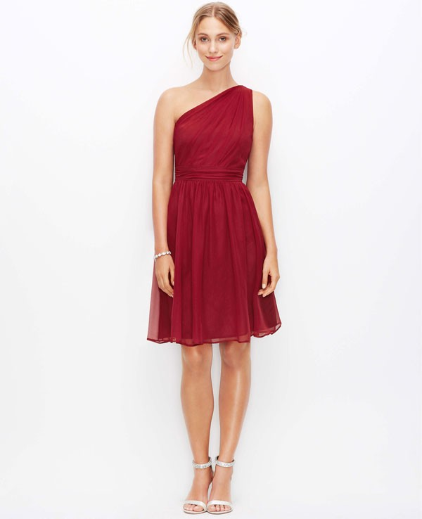 one shoulder, knee length bridesmaid dress in ruby