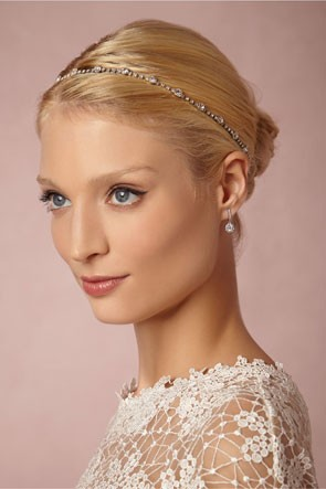petite jeweled headband worn with bridal updo