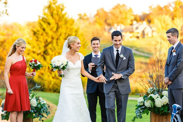 outdoor fall wedding recessional