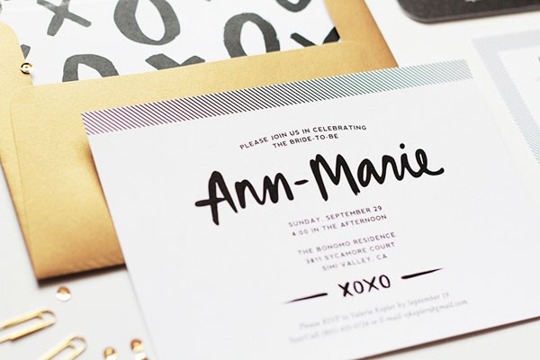 modern bridal shower invite in metallics