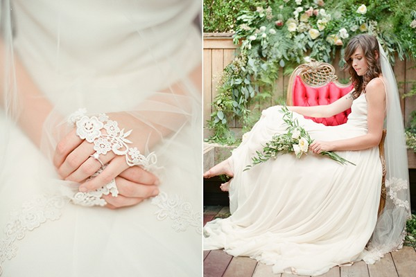 Lace-trimmed veil from Hushed Commotion