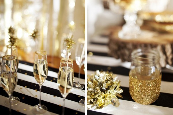 gold drink stirrers and glitter mason jars